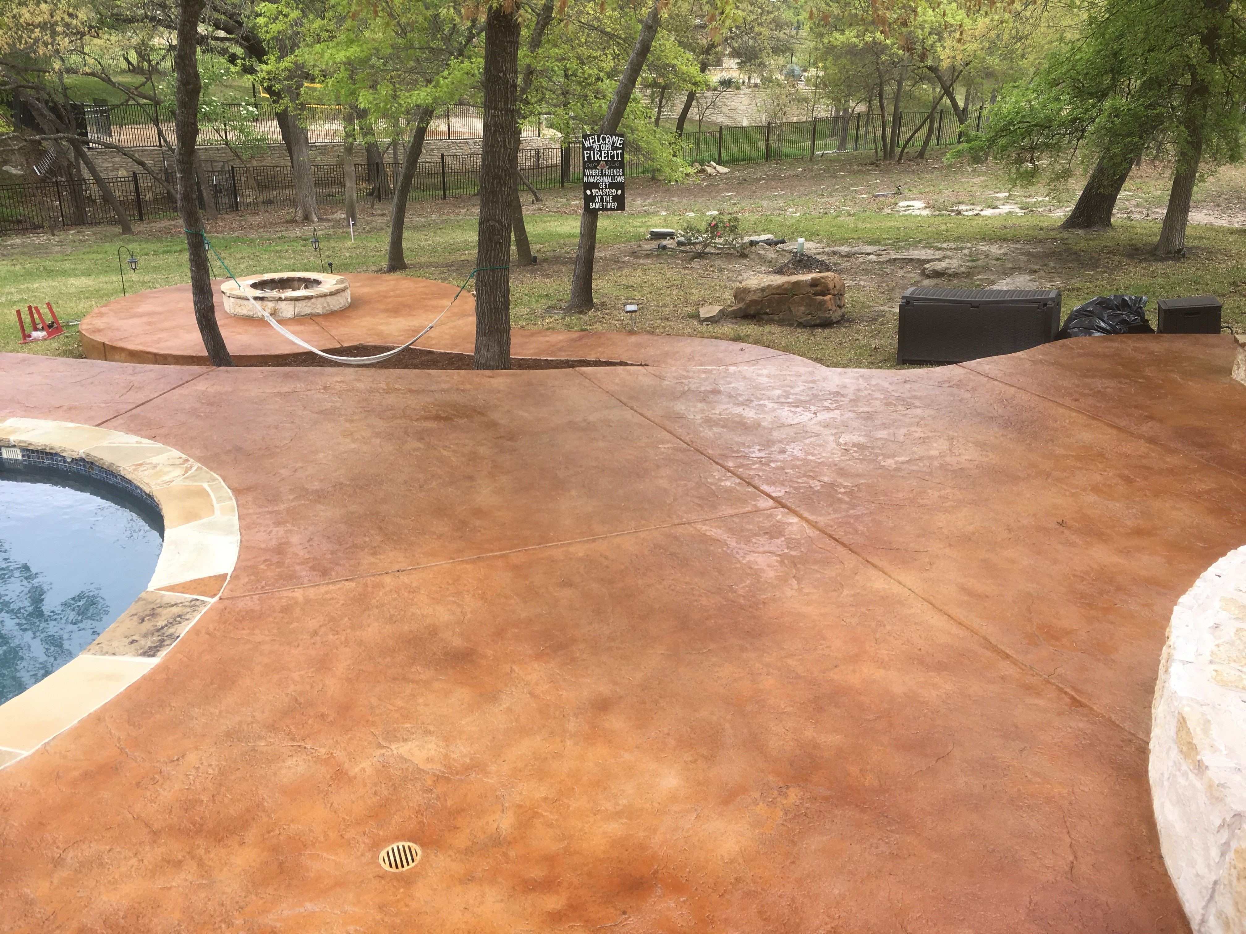 acid stain concrete pool deck. stencil resurfacing concrete