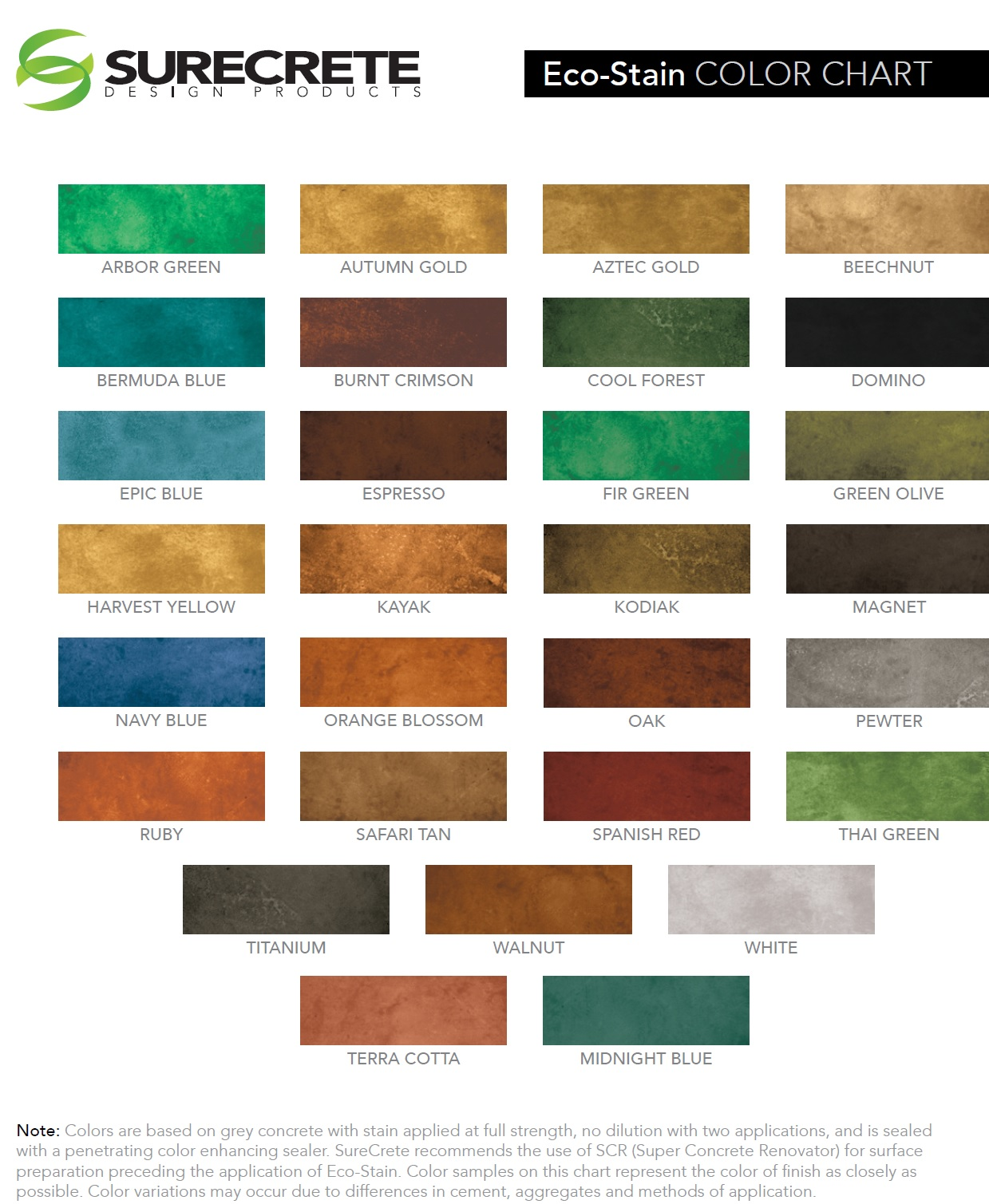 Color charts fort worth tx lone star power wash concrete floors clemons concrete coatings super color stains geenschuldenfo Images