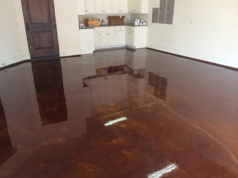 Residential concrete gallery fort worth tx lone star for How to clean stained concrete garage floors