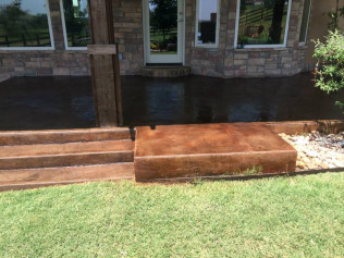 Outdoor Patio & Steps - Kemiko Walnut Acid Stain