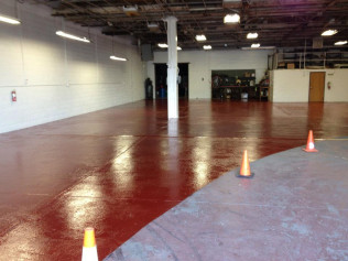 Red Epoxy in Work Area