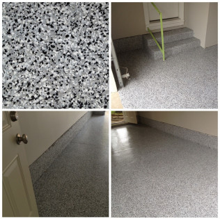 Garage Floor Coating - Full Broadcast Flake and Epoxy